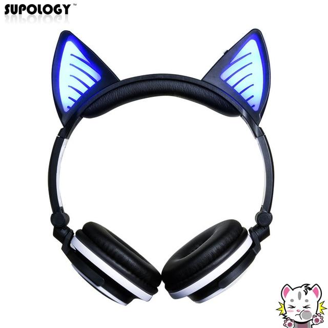 Supology Leuke Glow Kat Oor Bluetooth Hoofdtelefoon Voor Meisjes Led