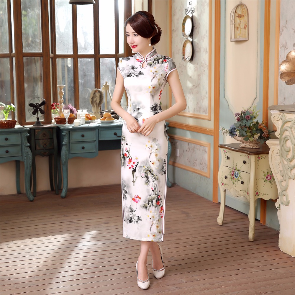 Shanghai histoire à manches courtes longue chine robe Qipao robe vintage style chinois cheongsam robe chinoise longue robe 2 Style