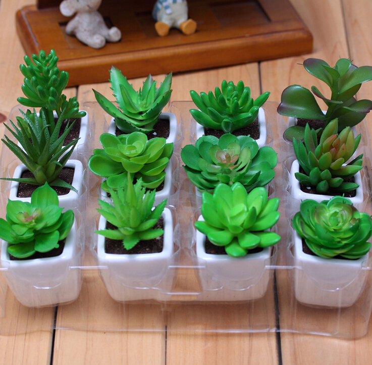 INDIGO- 12sets Mini Artificial Succulent Plant With Vase Desert Plastic Flower Green Plant Decoration Greenery Free Shipping