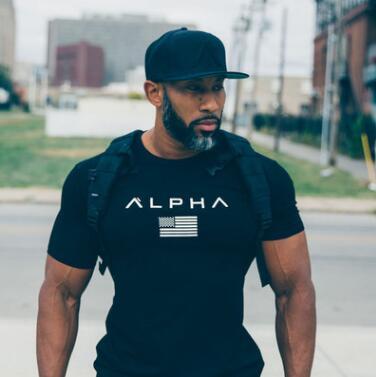 2017 remise en forme musculaire frères hommes de sport à manches courtes T-shirt hommes de col rond serré formation vêtements