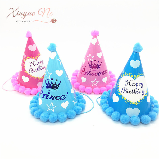 Baby Adult Birthday Party Hats Happy Caps Princess Crown Decorations Kids Favors Beautiful Mix