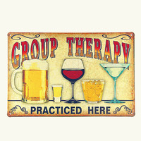 Group therapy practiced here! tin signs vintage metal plate the wall decoration for cafe bar home garage