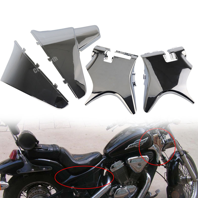 Chrome Motorcycle Battery Side Fairing Cover + Frame Neck Cover Cowl For Honda Shadow VT600 VLX 600 STEED 400 1988-1998 95 96 97 цена