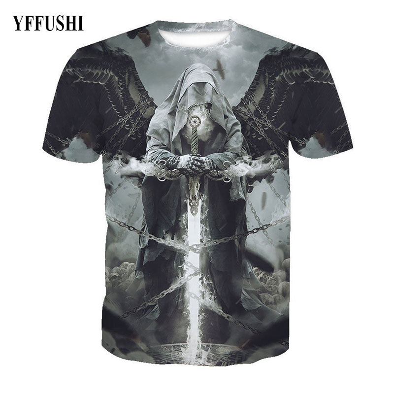 YFFUSHI 2018 Male Female 3d t shirt Men Fashion 3D Graphic Print Summer T shirt Men Hold Sword Print Hip Hop Tees Plus Size 5XL in T Shirts from Men 39 s Clothing