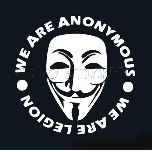 1pcs anonymous mask vinyl sticker jdm decal car window bumper wall door van window guy fawkes