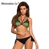 Minimalism Le Halter Top Bikini 2017 Lace Print Biquini Sexy Women Swimwear Swimsuit Maillot De Bain