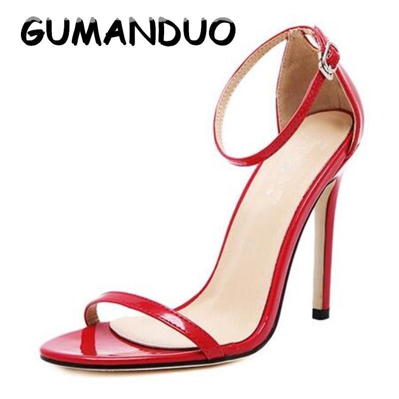 2761527c4 GUMANDUO 2017 Nova Chegou Vogue Mulheres Sapato Celebridade Clássico  Sandálias de Salto Alto Sexy Stiletto Bombas Partido Sapatos de Casamento  Plus Size