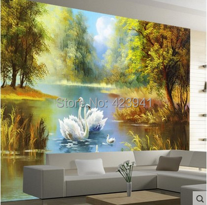 Wholesale Customized Large 3d Wall Mural Large Wallpaper Art Contracted Wall Home Decor Bedroom Porch Swan Lake Oil Paintings