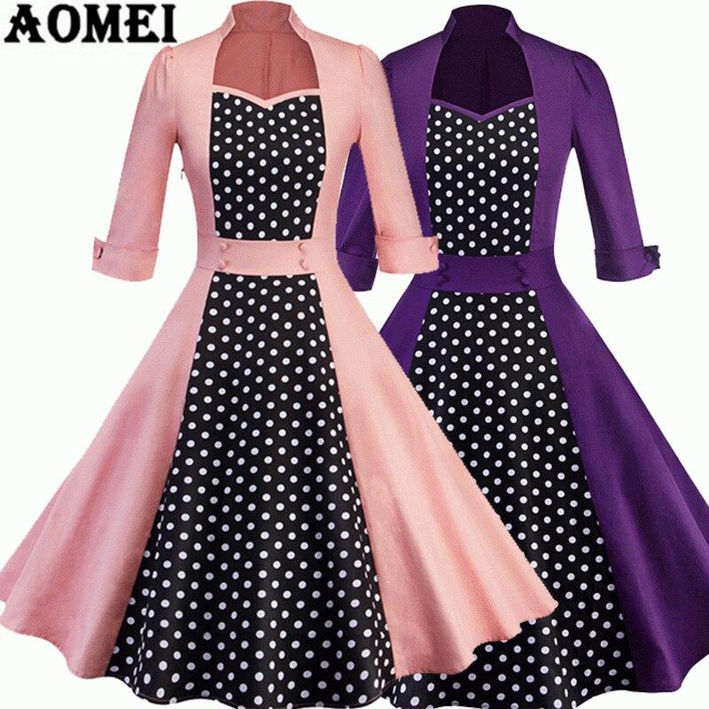 45a33b1e23d Women Swing Dress Polka Dot Vintage High Waist Patchwork Retro Robes  Elegant Tea Dresses Pleated Summer Female Fashion Clothing