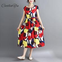 Cotton And Hemp Dress For Women In Summer 2019 Plus Size Maxi /Floral Dresses casual Clother Ceciliayu