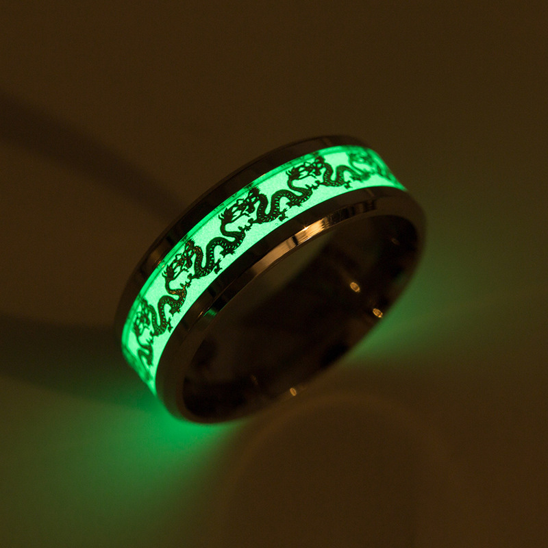 Dragon Luminous Rings Men Stainless Steel Women Rings Jewelry wholesale