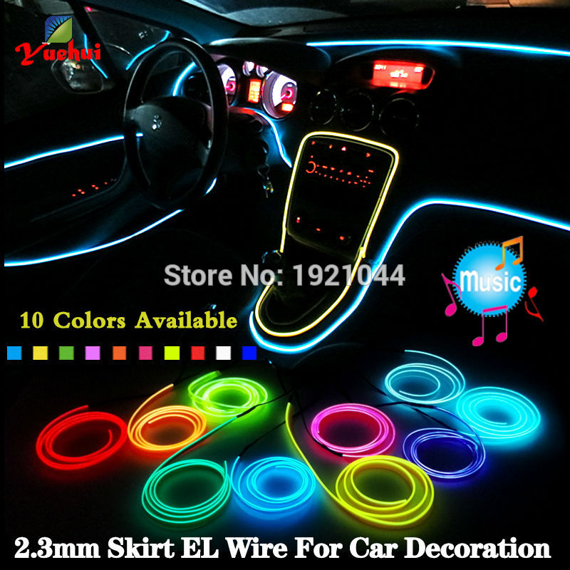 2017 High quality By 2.3mm-Skirt Trendy Car Party Decor With 12V Steady On Driver Led Thread Energy Saving EL Wire Rope Tube ...