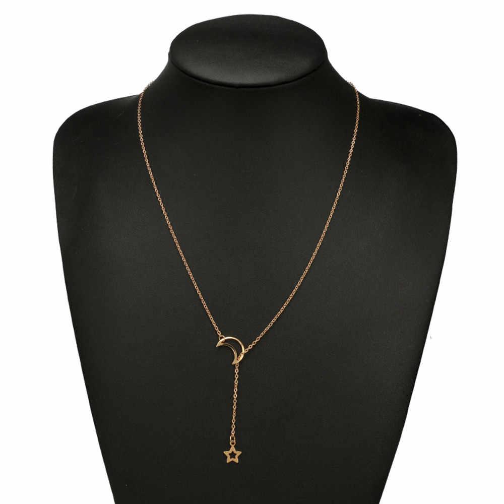 Kiểu dáng thời trang Mặt Dây Chuyền Nữ Dây Chuyền Dây Chuyền Nữ Trang Sức Vàng Trăng Choker Mặt Dây Chuyền Cặp Đôi Collares De Moda 2019 Quà Tặng L0704