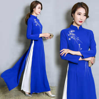 Vietnam Ao Dai Patchwork Tight Dress for Woman Chinese Traditional Costumes Qipao Cheongsams Flower Female Oriental Outfits - DISCOUNT ITEM  45% OFF All Category