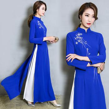 Wietnam Ao Dai Patchwork obcisła sukienka dla kobiety chińskie tradycyjne kostiumy Qipao Cheongsams kwiat kobiece orientalne stroje tanie i dobre opinie Wmswjh Poliester Suknem A639