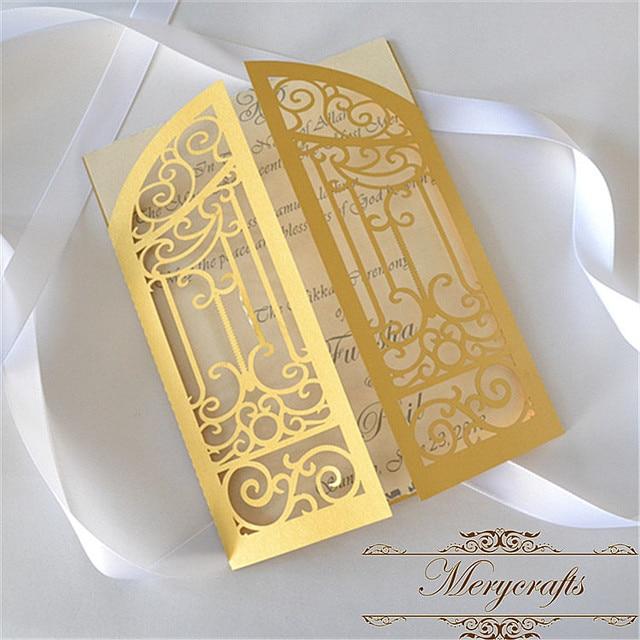 50pcs Hand made cheap laser cut folded gate gold pearl wedding ...