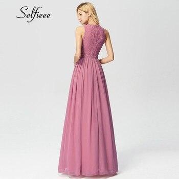 New Woman Dress Elegant Evening Robe Longue A Line O Neck Beaded Lace Party Dresses Floor Length Long Chiffon Formal Dress 2020 2