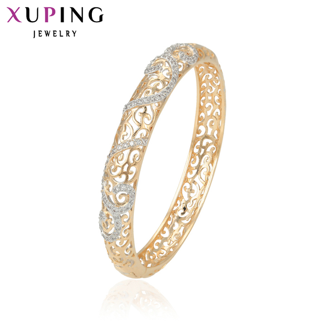 11.11 Deals Xuping Fashion Bangle Charm Gift Trendy Synthetic CZ Bangle  Jewelry Gold for Women China