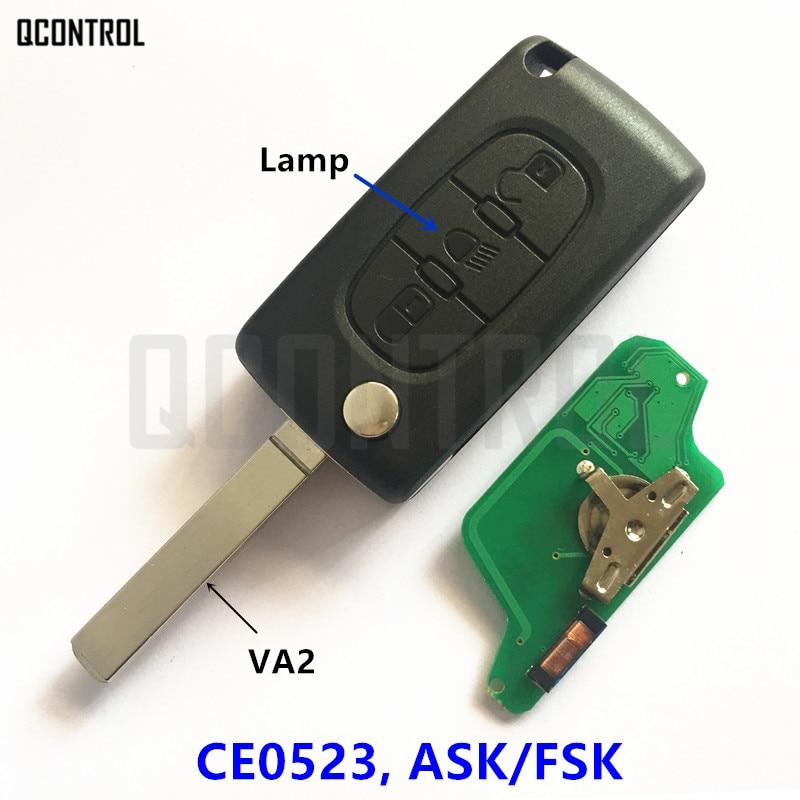 QCONTROL Fernautoschlüssel Licht Taste für CITROEN Berlingo C3 C2 C5 C4 Picasso 433 Mhz 7941 Chip (CE0523 ASK/FSK, 3BT, VA2)