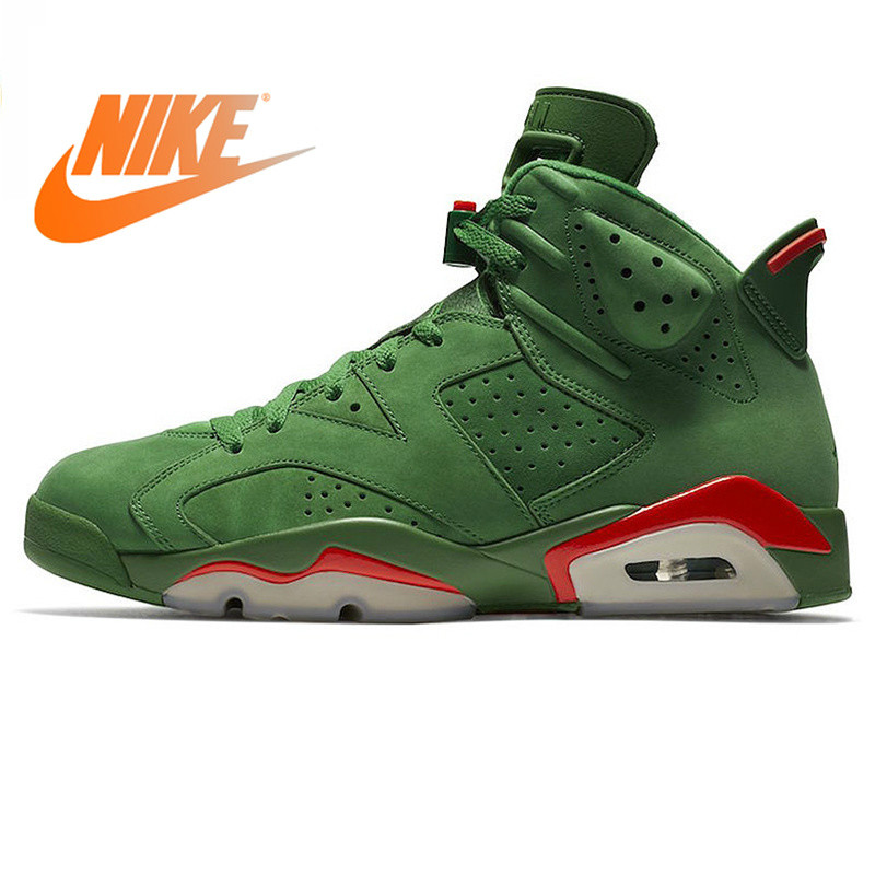 Nike Air Jordan 6 Gatorade AJ6 Green Suede Men's Basketball Shoes Outdoor Sneakers Wear Resistant Cozy Footwear 2018 New AJ5986