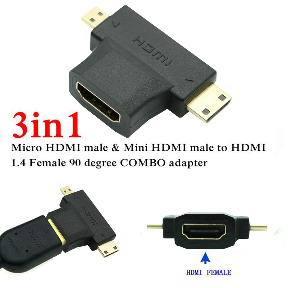 3 In 1 Micro Hdmi Mini Hdmi Male To Hdmi Adaptor V1 4 Male