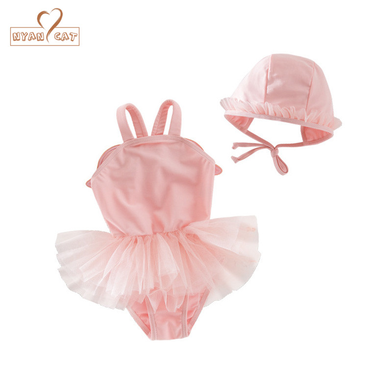 Baby Girls Swimming Suit Summer Pink Angle Wings Swimwear Set Infant Toddler Kids Spa Beach Bathing Clothing Costume
