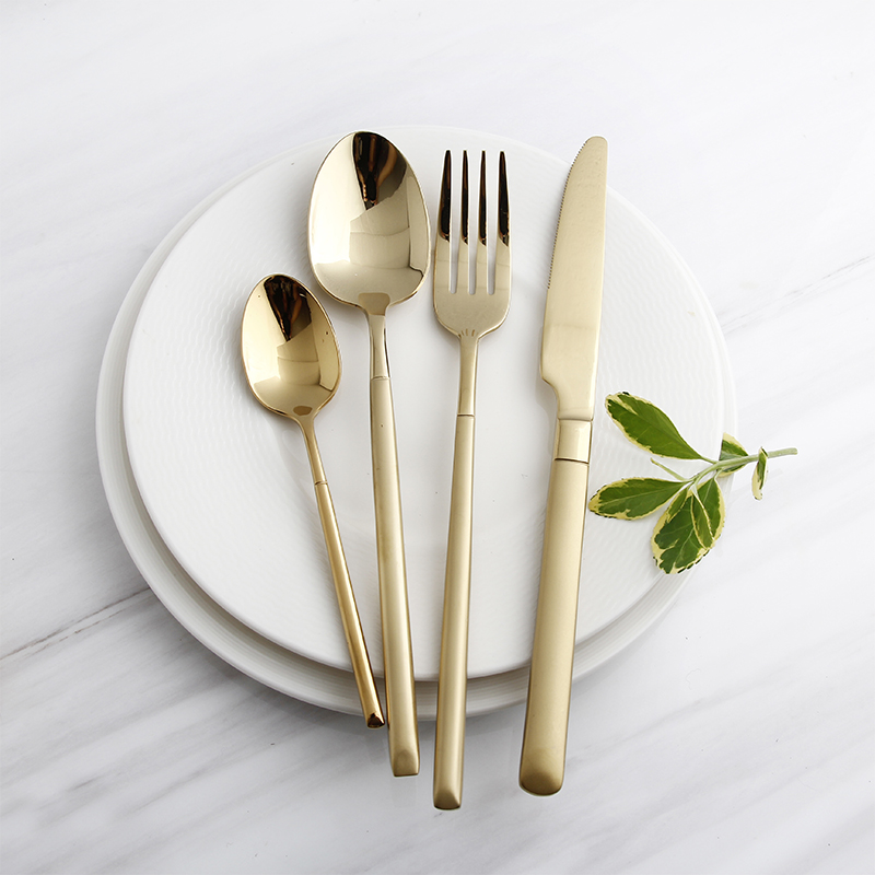 Dinnerware Set Plating Gold Stainless Steel Plated Gold Knife Fork Tableware Set Cutlery Luxury European Western Food Set 4pcs