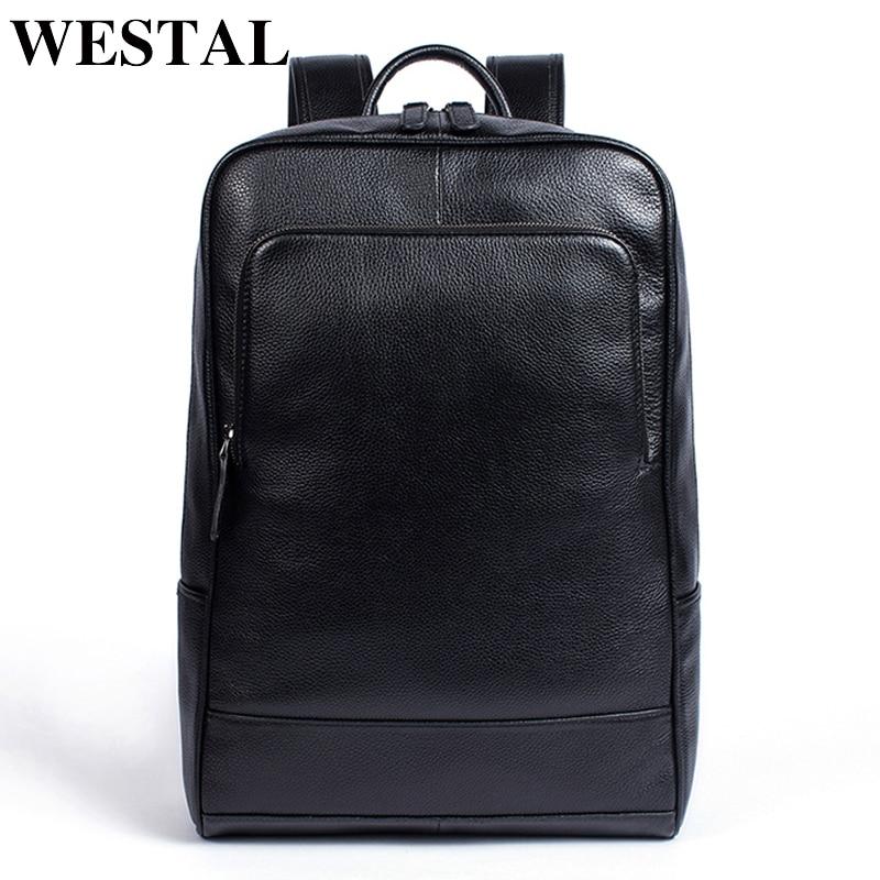 f887e33fd3c56 WESTAL 100% Echtem Leder herren Rucksack männer Männliche business tasche  schul mann mode herren rucksäcke für männliche Leder 8110 in WESTAL 100%  Echtem ...