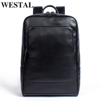 WESTAL 100% Genuine Leather Backpack Male Business bag schoolbag fashion men's backpacks for men Leather man backpacks new 8110