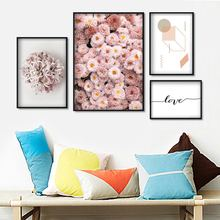 Pink Chrysanthemum Flower Love Quote Wall Art Canvas Painting Nordic Posters And Prints Pictures For Living Room Home Decor