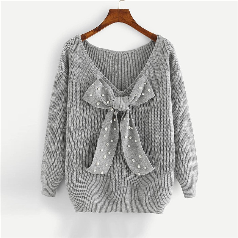HTB1.wofXo rK1Rjy0Fcq6zEvVXaw - SHEIN Grey Preppy Elegant Plus Size Dropped Shoulder Bow Detail Solid Pullovers Sweater Autumn Casual Workwear Women Jumpers