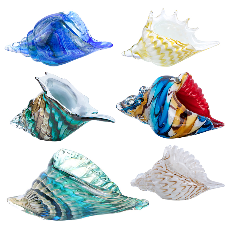 H&D Hand Blown Glass Art Seashell Conch Paperweights Home Figurines Collection Wedding Decoration Christmas Birthday Gift-in Figurines & Miniatures from Home & Garden on AliExpress - 11.11_Double 11_Singles' Day 1