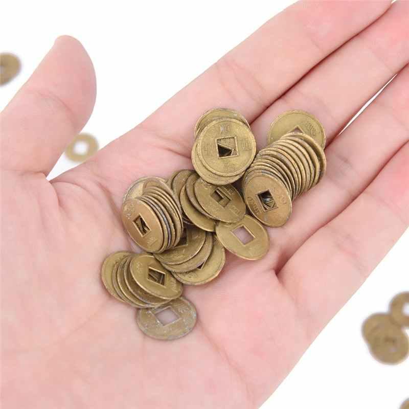 Màu Sắc Vàng 100 Pcs 10 Mm Trung Quốc Cổ Đại Phong Thủy Đồng Tiền May Mắn Tốt Tài Lộc Rồng Và Phượng Hoàng Cổ Cải Tiền bộ Quà Tặng