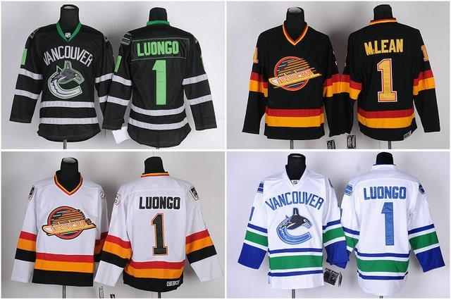 Men S Vancouver Canucks Hockey Jerseys 1 Roberto Luongo Goalkeeper