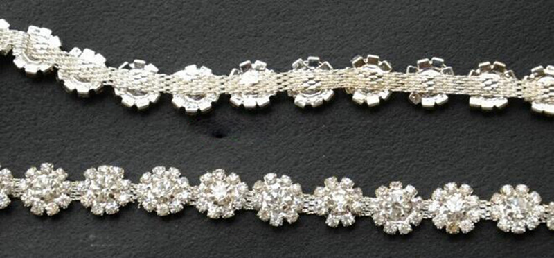 5Yards Sparkle Silver Crystal Trim Costume Sunflower Rhinestones Sash Diamante Appliques Rhinestone For Gowns And Wedding Cakes in Rhinestones from Home Garden