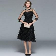 Borisovich Luxury Women Evening Party Dresses New Arrival 2017 Spring Fashion Tassel O-neck Elegant Black Female Dress M070