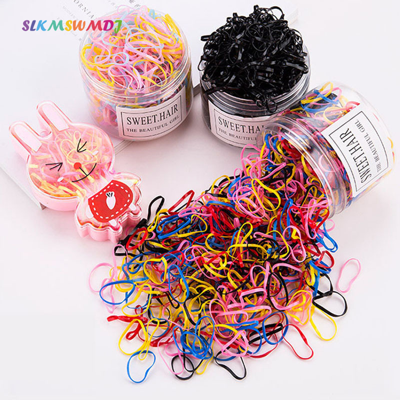 SLKMSWMDJ Children Disposable Eco-friendly Rubber Thick Rubber Band Girls Baby Cute Elastic Hair Rope Accessories Box Packaging