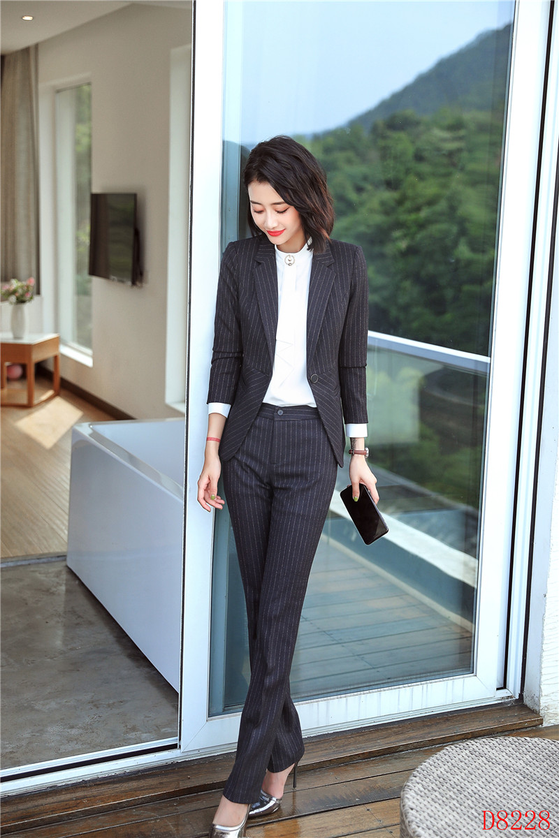Ensemble Pantalons Rayé Mode Bureau Vestes Avec black Work Striped Blue Striped Blazers De Wear D'affaires Dark Et Uniformes Costumes Pantalon Dames Femme vYwOY