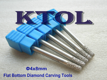 Fast 5pc 4x8mm Flat Bottom CNC Engraving Diamond Stone Carving Bit,Cutting Tools End Mill Cutters for Milling/ Lettering Marble