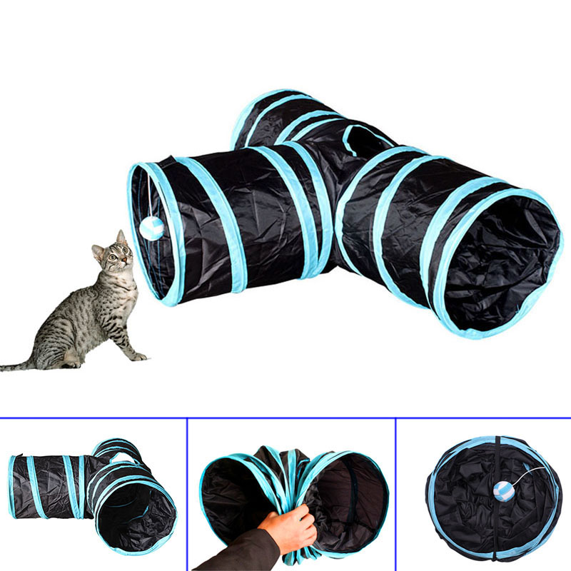 Cat Dog Tunnel Training Toy 3 Way Hideout Collapsible Playmat Rabbit Kitten Pet Play Toy 2018ing ...