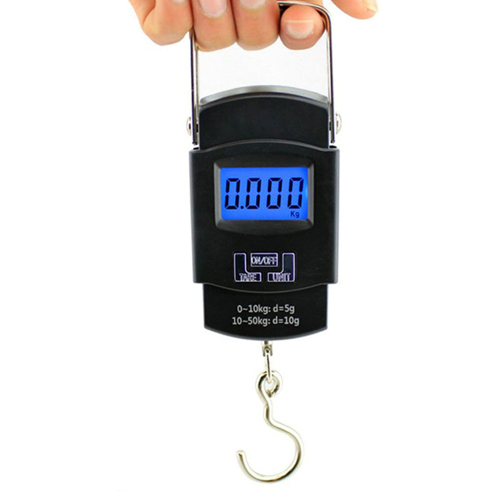 Scale Hook Fish Weight Mini Hanging Scale Pocket Portable 50kg LCD Digital Hanging Luggage Weighing Fishing Hook Scale Electron lcd display 25kg 5g hook hanging luggage fishing pocket scale portable weighing digital scale mini purple