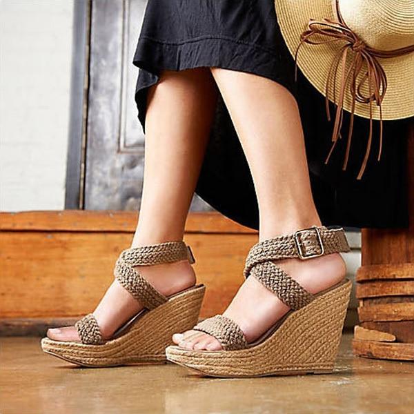 bee35bf20 FREE SHIPPING Women s Bohemian Braided Platform Wedge Sandals Ladies  Fashion Summer Shoes Buckle Strap Beige Black Brown