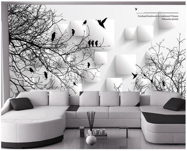 custom 3d wallpaper Abstract bird tree background wall decoration ...