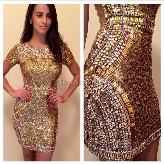 Oumeiya ONP182 Bare Low Back Short Sleeve Heavy Beaded Short Gold ...