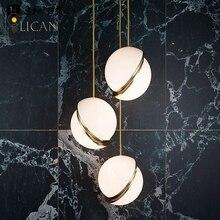 LICAN Denmark designs round balls Pendant Lights Creative Round Moon Brass Suspension Pendant lamp for Dining room Living room