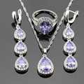 Purple Created Amethyst  White CZ Silver Color Wedding Jewelry Sets For Women Earrings Rings Necklace Pendant Free Gift Box