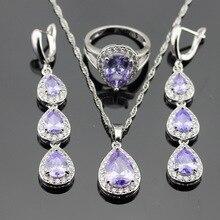 Amatista púrpura de Creación Blanco Boda del Color de Plata de la CZ Sistemas de La Joyería Para Las Mujeres Pendientes Anillos Collar Colgante De Caja de Regalo