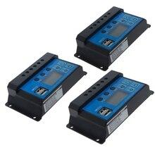 PWM 10/20/30A Dual USB Панели солнечные Батарея регулятор заряда аккумулятора 12/24V ЖК-дисплей авто
