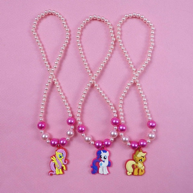1Pcs Girls Cute Cartoon My Little Horse Pendant Necklaces Kids Choker Jewelry Accessories Character Unicorn Children Party Gift