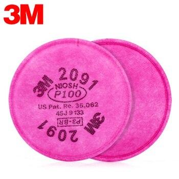2pcs 3M 2091 Respirator Mask Filter  Cotton Filter P100 99.7% Pro Anti Industrial Dust Pollen Haze Poison Gas Filters Set 1